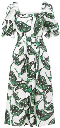 Borgo de Nor Corina Leaf-print Button-down Cotton Dress - Green White