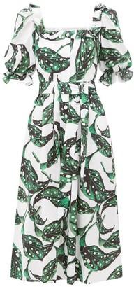 Borgo de Nor Corina Leaf-print Button-down Cotton Dress - Womens - Green White