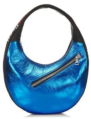 Bruceglen Logo Mini Egg Metallic Leather Hobo Bag