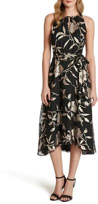 Tahari Floral Burnout High/Low Cocktail Dress