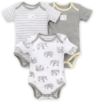 Burt's Bees Wandering Elephants Organic Baby Bodysuits 3 Pack