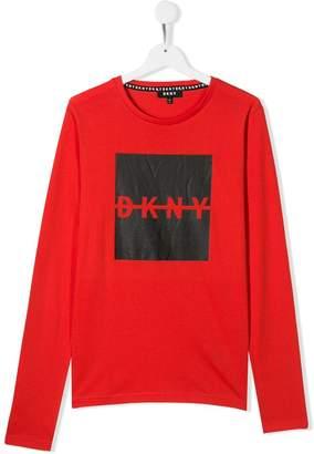 DKNY TEEN logo print top