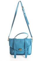 GiGi Blue Pebbled Leather Gold Tone Hayden Satchel Crossbody Handbag 90027601