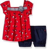 Nautica Little Girls' Boat Print Top with Woven Short Set