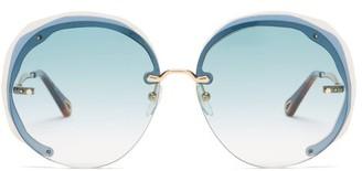 Chloé Elaia Oversized Round Metal Sunglasses - Blue