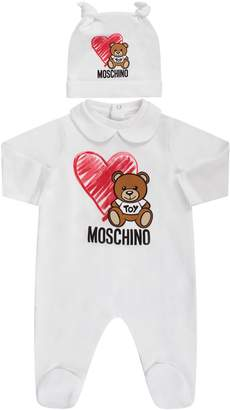 Moschino White Babyboy Set With Teddy Bear And Heart