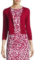 Oscar de la Renta 3/4-Sleeve Cropped Cashmere-Silk Cardigan, Dark Red