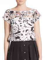 Milly Surrealist Printed Fil Coupe Crop Top