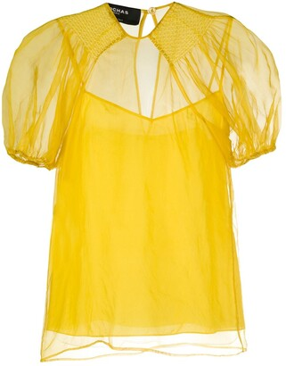 Rochas Puff-Shoulder Silk Blouse
