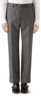 Gucci Stitch Detail Wool Sharkskin Dress Pants
