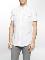 Calvin Klein Slim Fit Herringbone Utility Short Sleeve Shirt