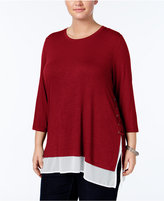 Style&Co. Style & Co. Plus Size Lace-Up Layered-Look Top, Only at Macy's