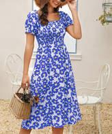 Suvimuga Women's Casual Dresses Blue - Blue Floral Smocked-Top Convertible Off-Shoulder Dress - Women