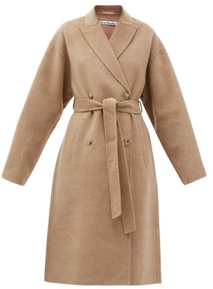 Acne Studios Owanne Double-breasted Belted Wool Coat - Camel