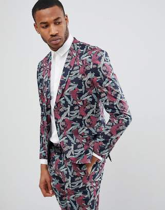 Jack and Jones Slim Fit Blazer With All Over Print-Navy