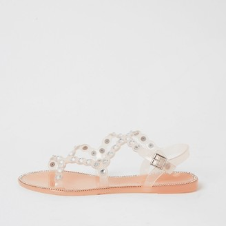 River Island Pink diamante jelly sandals