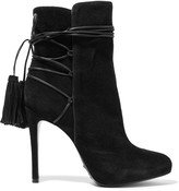 Schutz Briella leather-trimmed suede ankle boots