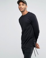 Asos Longline Long Sleeve T-Shirt With Lace Up Detail And Curve Hem