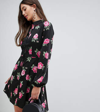 Influence Tall floral skater shirt dress-Black