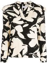 Calvin Klein floral print ruffle detail blouse
