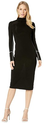 BCBGMAXAZRIA Turtleneck Jersey Dress (Black) Women's Dress