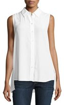 Equipment Pleated-Back Sleeveless Slim Signature Shirt, White
