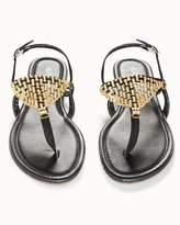 Soma Intimates Gold Mesh Flat Black Sandals