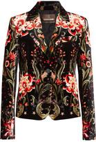 Roberto Cavalli Printed Velvet Blazer - Black