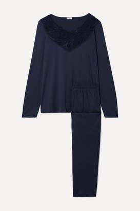 Hanro Flora Lace-trimmed Mercerized Cotton-jersey Pajama Set - Midnight blue