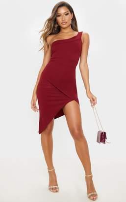 PrettyLittleThing Navy One Shoulder Wrap Skirt Midi Dress