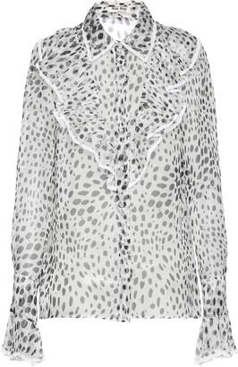Miu Miu dalmatian print sheer blouse