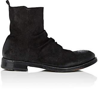 Elia Maurizi Men's Wrinkled-Vamp Oiled Suede Boots - Black