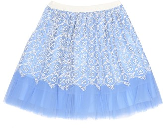 Gucci Kids Baby GG embroidered tulle skirt