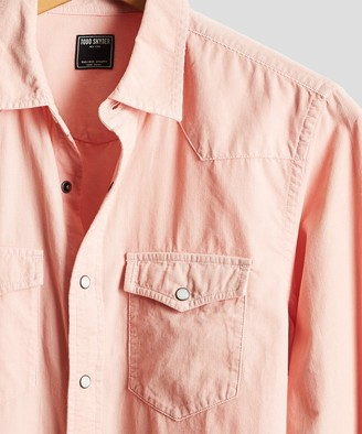 Todd Snyder Micro Corduroy Western Shirt in Pink