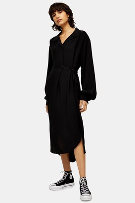 Topshop Womens **Black Peasant Style Dress By Black