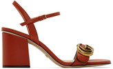 Gucci Red Leather Double G Heeled Sandals
