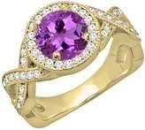 DazzlingRock Collection 14K Yellow Gold 7 MM Round Cut Tanzanite & White Diamond Bridal Engagement Ring (Size 4)