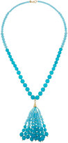 Lydell NYC Ombre Beaded Bubble Tassel Necklace, Blue