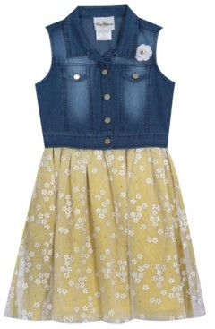 Rare Editions Big Girls Denim Vest Dress with Mesh Daisies Skirt, Set of 2