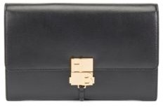 HUGO BOSS Monogram Clasp Crossbody Bag In Structured Leather - Black