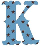 "Wall Candy Arts WallCandy Arts WallCandy Luv Letters Stars Letter ""K"" Wall Decal in Blue"