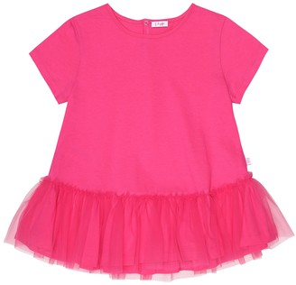 Il Gufo Tulle-trimmed cotton T-shirt