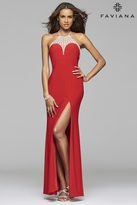 Faviana 7727 Jersey halter prom dress with rhinestone detail