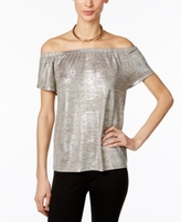 INC International Concepts Petite Metallic Off-The-Shoulder Top, Created for Macy's