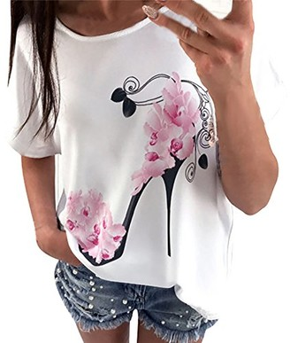 Apacy Women T-Shirt Short Sleeve High Heels Printed Tops Casual Loose Blouse Summer Beach Loose Top Plus Size White