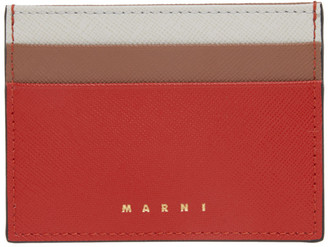 Marni Red and Brown Logo Card Holder