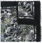 Roberto Cavalli printed frayed scarf