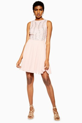 Womens **Pink Embellished Dress By Lace & Beads - Pink