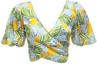 Bec & Bridge Palm Paradise Printed Satin Crop Top
