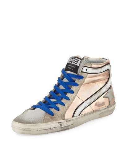 Golden Goose Slide Metallic Leather High-Top Sneaker